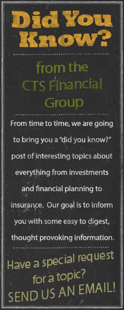 "From time to time, we are going to bring you a ""did you know?"" post of interesting topics about everything from investments and financial planning to insurance.  Our goal is to inform you with some easy to digest, thought provoking information. Have a special request for a topic?  Send us an email!"